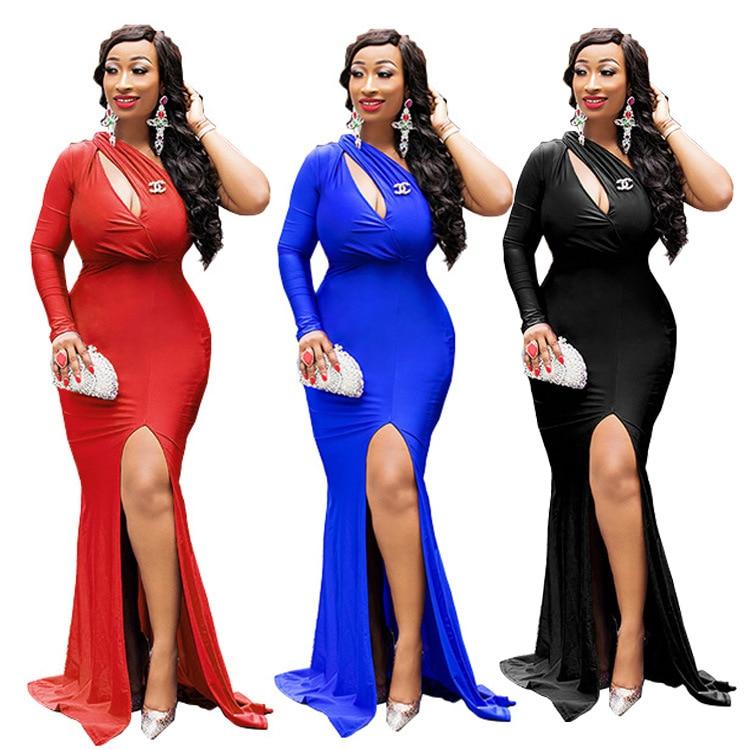 Mujeres Sirena Vestido Recorte Partido Longitud Sexy Maxi La Cuello Rajó Club Un Noche Tamaño Hombro Del K9249 Busto Skew k9249 Piso K9249 Vestidos k9249 rnr674Yp
