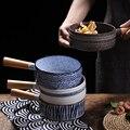 Японский фруктовый салат керамическая миска с деревянной ручкой миска для супа с лапшей Одноручные креативные блюда японская Корейская го...