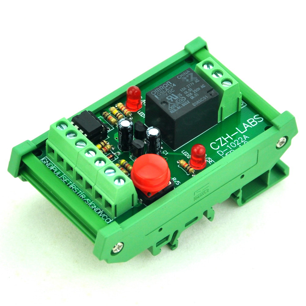 DIN Rail Momentary-Switch/Pulse-Signal Control Latching SPDT Relay Module, 24V