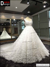 Fashion exquisite car flower train wedding dress slim waist aesthetic royal train wedding dress quality 2015