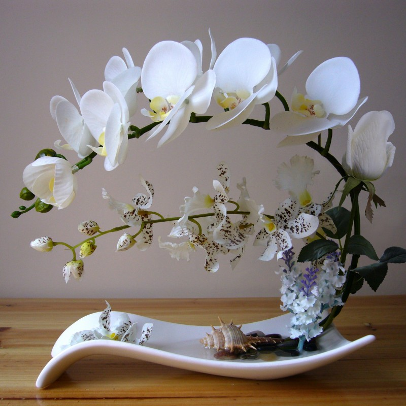 Phalaenopsis set pu artificial silk silk flower for Real plants for home decor