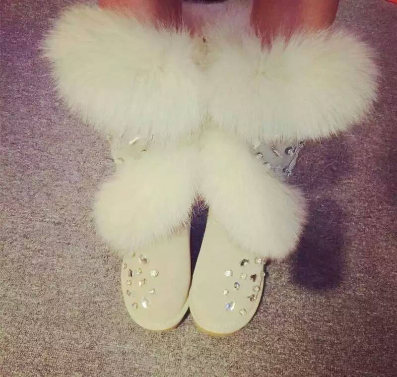 Real Fox Fur Boots Womens Genuine Leather Cowhide Winter Boots Handmade Rhinestone Winter Shoes Women Snow