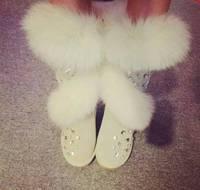 Real Fox Fur Boots Girls Genuine Leather Cowhide Winter Boots Handmade Rhinestone Winter Shoes Women Snow