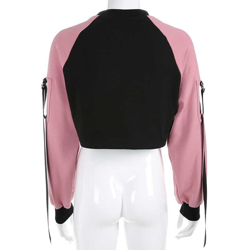 Weekeep Wanita Patchwork Huruf Cetak Hoodies Dipotong Streetwear Lengan Panjang Sweatshirt Hitam Merah Muda Rajutan Longgar Pullover Hoodie
