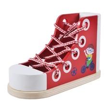 лучшая цена Multi-purpose wooden shoes, kid's hand-eye coordination, children's life, common sense skills, wearing tie, early education