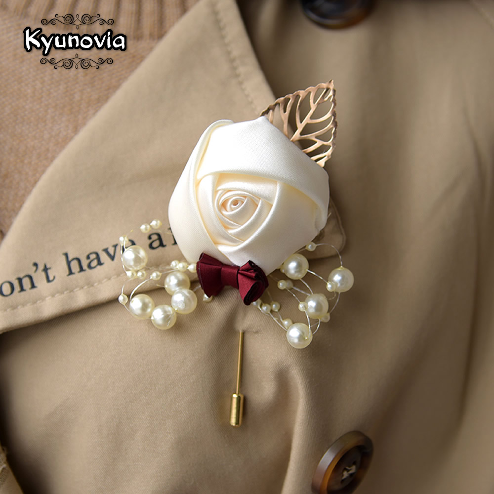 Kyunovia Wedding Prom Corsage Ceremony Flower Brooch Wedding Boutonnieres Groom Groomsmen Buttonhole Flowers Boutonniere FE89