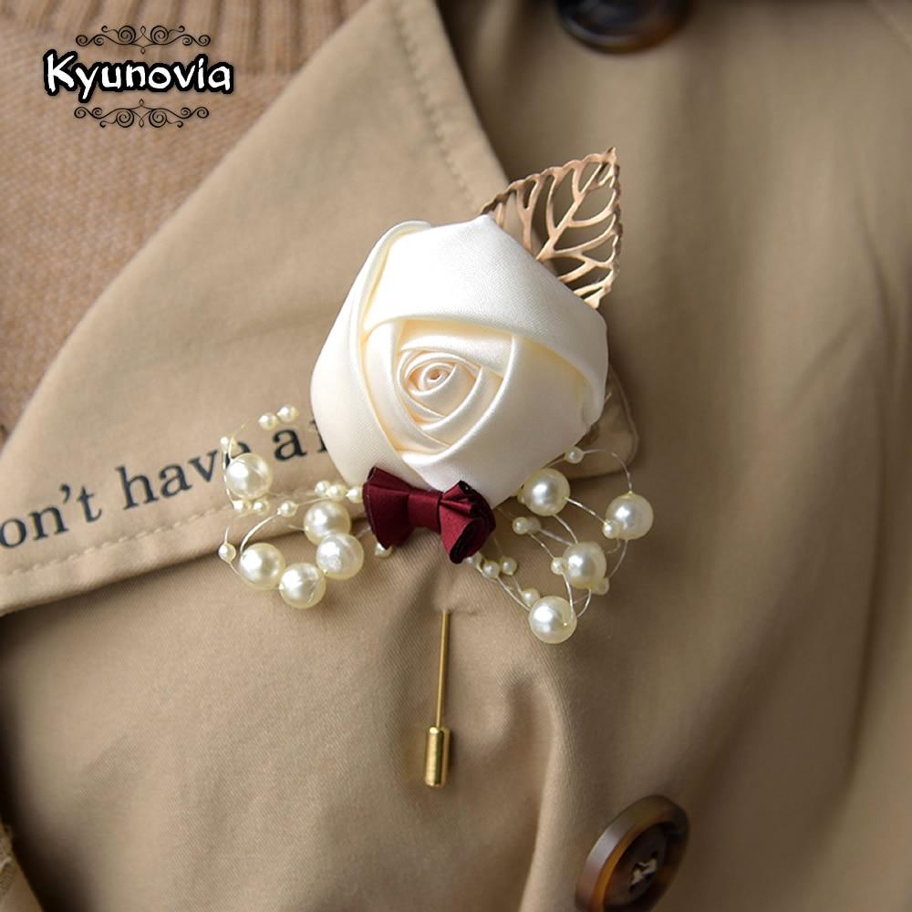 Kyunovia Wedding Prom Corsage Ceremony Flower Brooch Wedding Boutonnieres Groom Groomsmen Buttonhole Flowers Boutonniere FE89