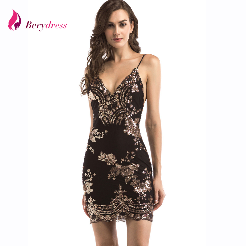0c37da6f04b Womens Gold Black Sequins Dress 2018 New Sexy V-neck Backless Women  Sundress Luxury Party Club Wear Mini Sequined Dress Vestidos