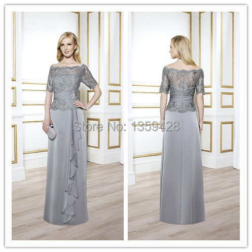 US $109.0 |2015 Plus Size Formal Gray Celebrity Long Evening Dress With  Lace Short Sleeve Chiffon Prom Gowns Arabic India Robe De Soiree-in Evening  ...