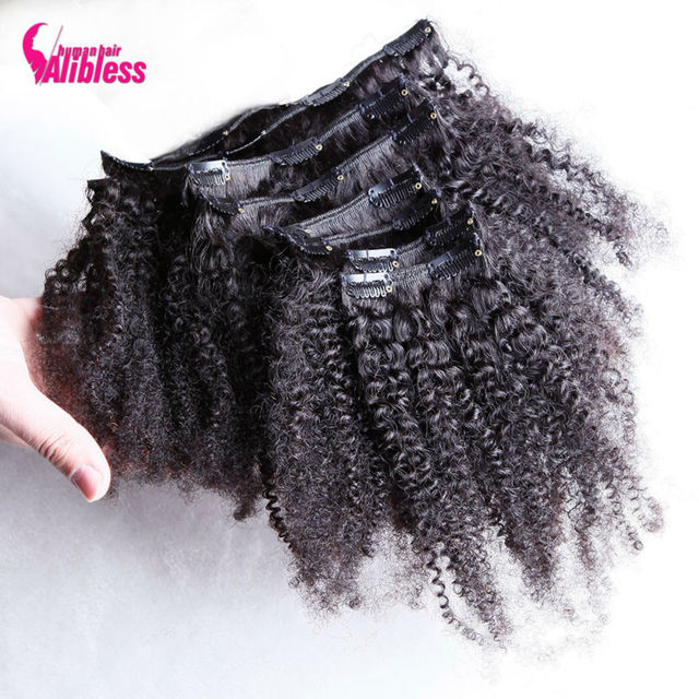 100% Mongolian Virgin 7a Grade Remy Human Hair Afro Kinky Curly Clip In Hair Extensions 8PCS/Set 120G Clip Ins Weave