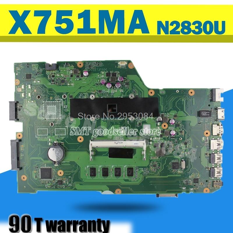 r752md motherboard x751md rev2 0 mainboard k751m k751ma x751ma r752m processor n3530 with 4g memory on board gt 820m 1g tested K751M K751MA X752M R752MA X751MA Motherboard For Asus N2830 Processor X751MD mainboard REV2.0 Mainboard 100% Test Motherboard