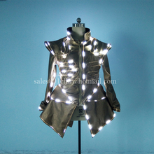 Hot Sale 5 Pcs LED Luminous Women Costume Bar KTV Nightclub Waiter's Clothes Growing Light Up DS DJ Party Waiter Uniforms Suit