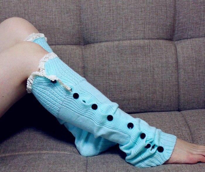 2014 Newest Women Girls Leg Warmers Button Down Boot Cuffs Lace Trim