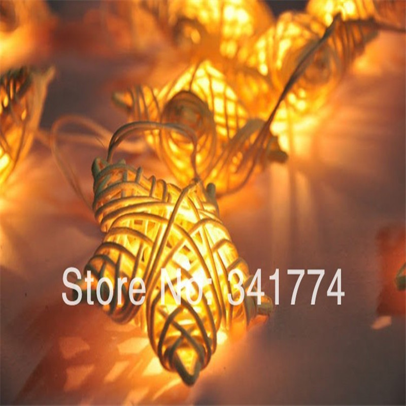 New LED Rattan Pendant Star Strings Holiday Lighting night lights Garland Christmas New year Wedding Party luminaria decoration ...