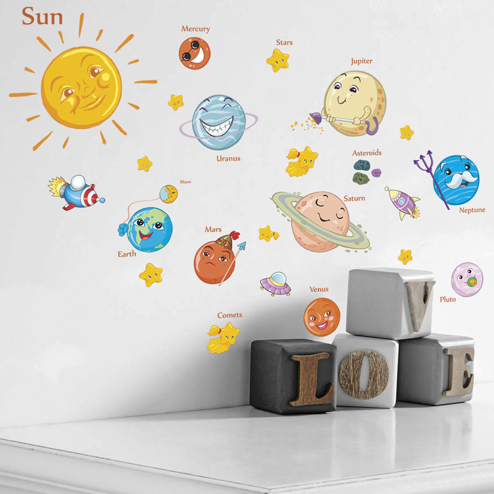 1 Pc Cartoon Solar System Milky Way Wall Sticker For Kitchen Bar Bedroom Children Room Home School Decoration Stickers & Posters