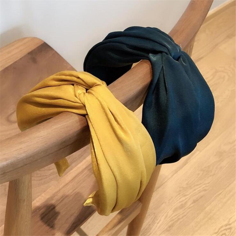 1 Pc Fashion Style Women Girls Solid Bezel Vintage Hairband Headband Female Girls Korean Cross Satin Hair Accessories Headwear