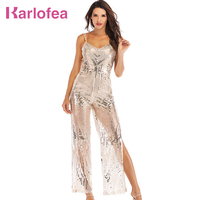Karlofea Women Outfits Jumpsuit Strap Sleeveless Silver Sequin Long Romper Fashion Club Night Party Clothing Side Split Jumpsuit