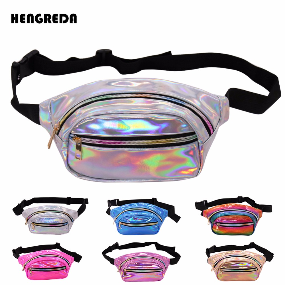 6ba1104f73 US $6.59 45% OFF|2018 Holographic Fanny Pack Women Laser Bum Bag Travel  Beach Shiny Waist Bags Hengreda Raves Hip Bag Fashion Hologram PVC  Travel-in ...
