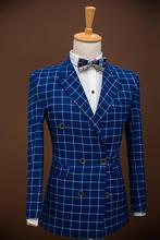 Newest Blue Groom Tuxedos White Stripe Double Breasted 2 Pieces Mens Wedding Prom Dinner Suits Best