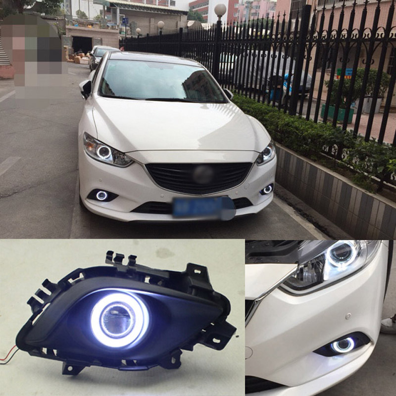 Ownsun COB Angel Eye Rings Projector Lens with 3000K Halogen Lamp Source Black Fog Lights Bumper Cover For Mazda 6 Atenza ownsun new innovative cob fog light angel eye bumper projector lens for mazda 6