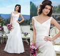 Simple Bridal Gown Sexy V-neck Sleeveless Pleat Bodice Custom Satin A-line Wedding Dresses 2016 Newly Arrivals Vestido De Noiva