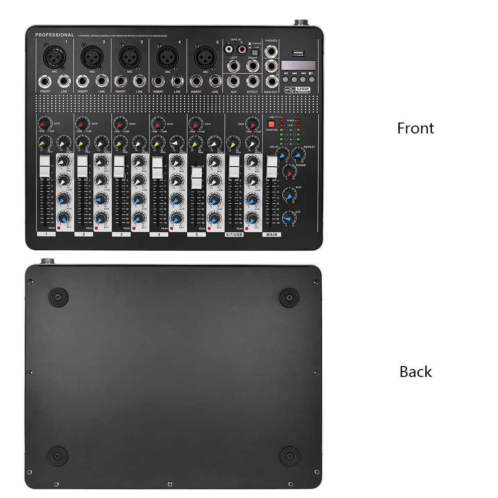7-канал микрофонно-линейных аудио микшер микшерный пульт с 3-полосный эквалайзер 48 В Phantom Мощность USB Интерфейс с 2 стерео каналов