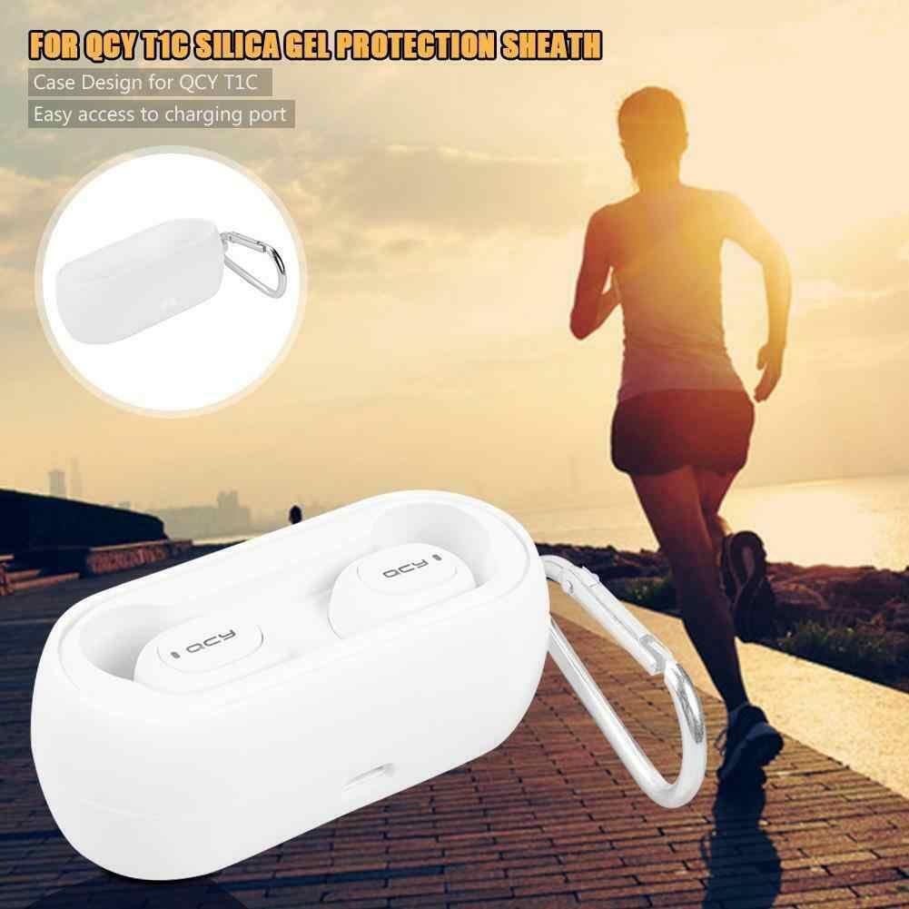 Silikonowa osłona ochronna bezprzewodowe słuchawki Bluetooth przypadku dla QCY T1C kompleksową ochronę ładowania Box czarny/biały