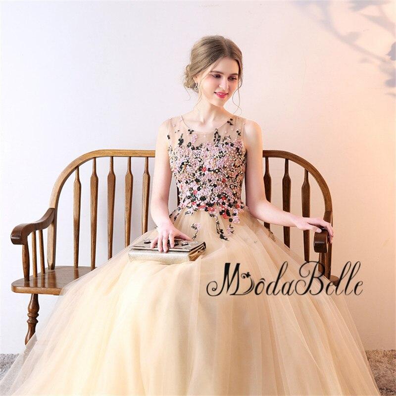 Modabelle Floreale Delle Donne Del Vestito Convenzionale Tulle Handmade Perle Partito Abiti Lunghi Champagne Borgogna Vintage Abito Da Sera 2018 - 6
