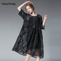 Jedwabiu Haft Sukienka Kobiety Plus Size 3 4 XL Krótkim Rękawem Luźne Lato Z Krótkim Rękawem Sukienka Vestidos SYX64