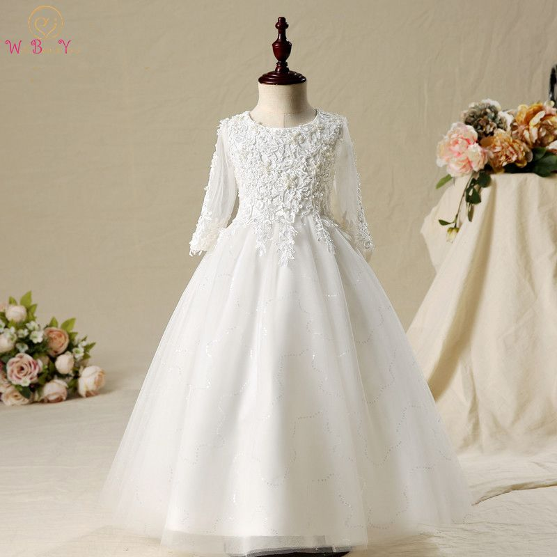 Walk Beside You Ball Gown for Kids   Flower     Girl     Dresses   Lace Applique Beading O-neck 3/4 Sleeve First Communion   Dresses   for   Girls
