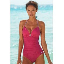 цена на 2019 New Sexy Women Solid Color Halter One-piece Swimwear Siamese Sexy Swimsuit Backless Bodysuit