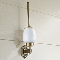 Luxury European Carving Wc Brush Holder Antique Brass Toilet Brush Holder With Ceramic Wall Mounted Bathroom Accessories