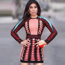 High Quality Orange Geometric Long Sleeve Weaving Mini Rayon Bandage Dress Evening Party Dress