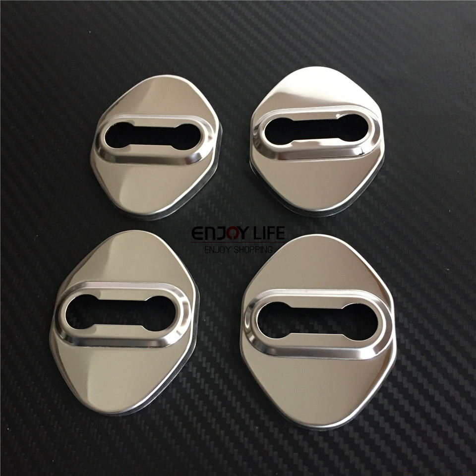 4pcs Stainless Steel Car Door Lock Buckle Striker Protective Cover Caps Case Sticker For Toyota Corolla E170 2013 - 2015