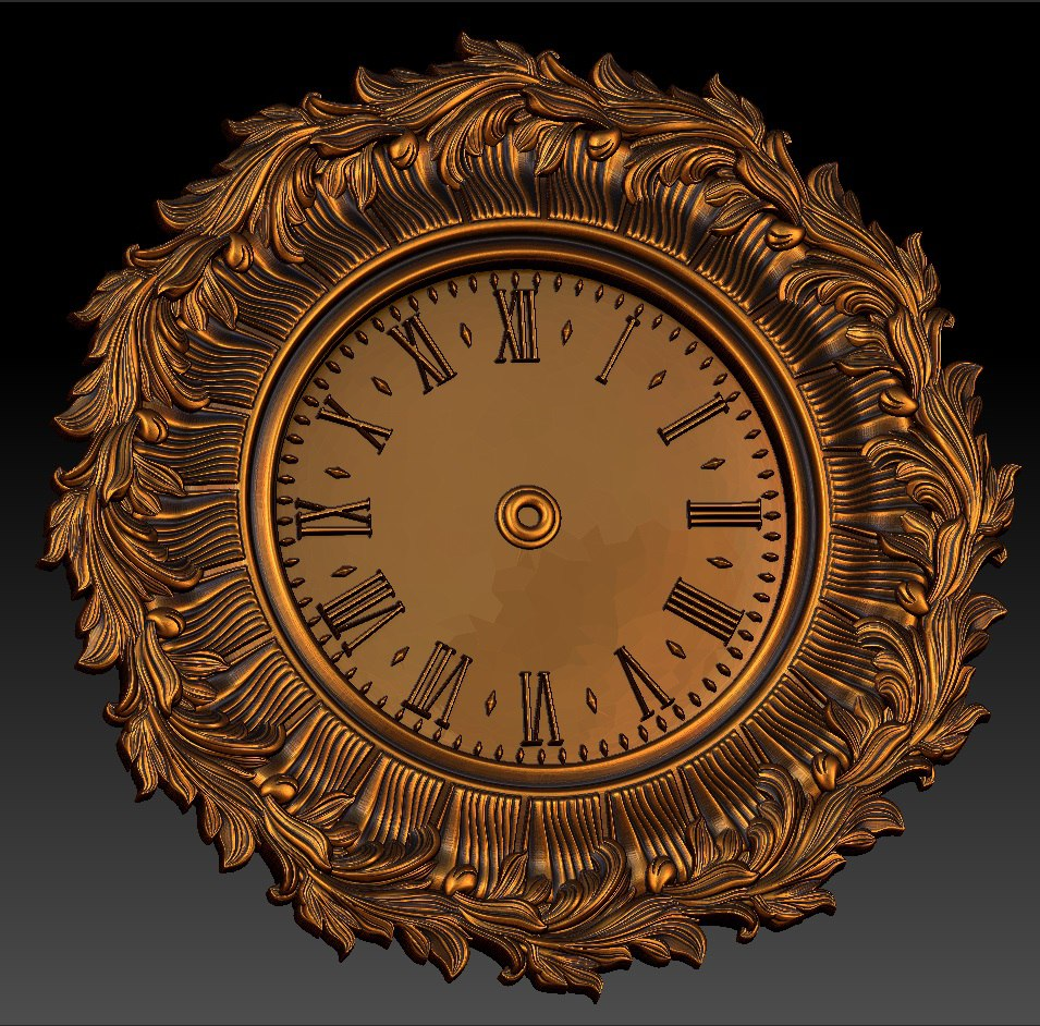 Digital File In STL Format Clock For CNC 3D Relief Carving Engraving C36-28