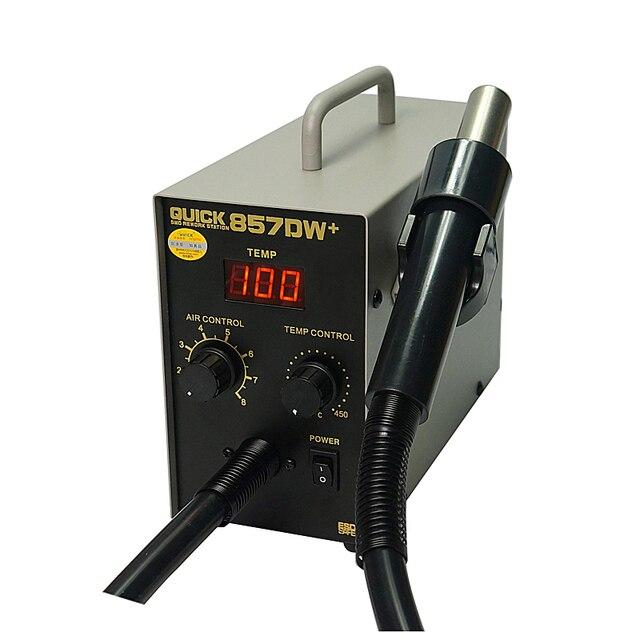 Pistolet à air chaud réglable sans plomb rapide 857DW + avec vent hélicoïdal 580W SMD station de reprise