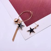 2019 Fashion Women Earrings Cute Asymmetric Tassel Hoop Earrings For Women Elegant Pentagram Earrings Jewelry Accessories Gift цена