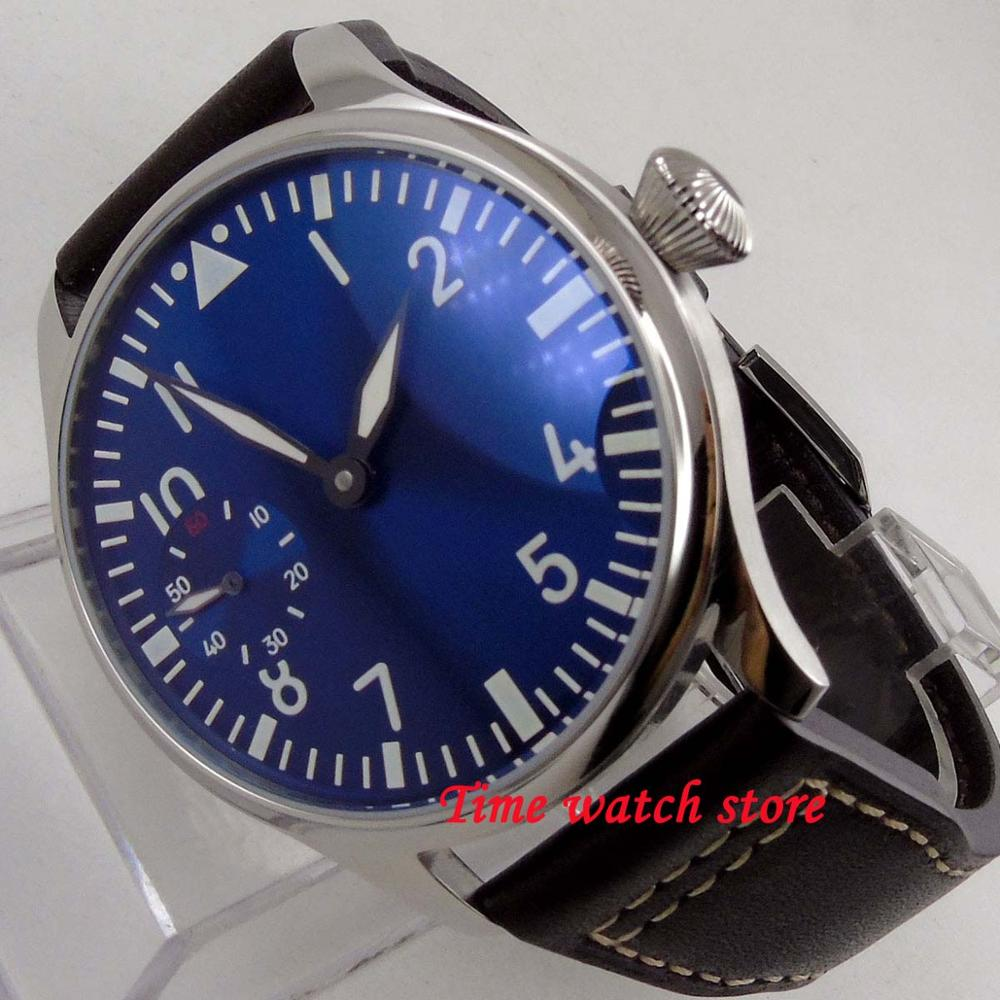 Vintage 44mm Parnis no logo mens watch royal blue dial luminous 17 jewels 6497 hand winding movement wristwatch 1261Vintage 44mm Parnis no logo mens watch royal blue dial luminous 17 jewels 6497 hand winding movement wristwatch 1261