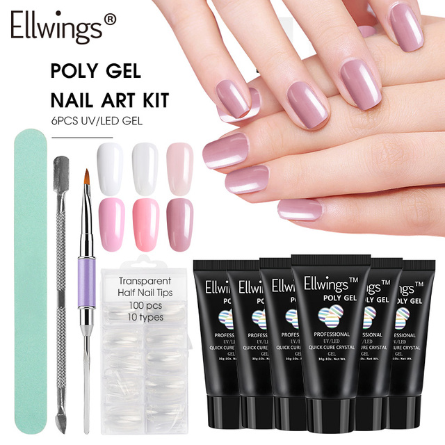 Ellwings 10pcs Poly Gel Set Acrylic French Kit Quick Builder Nails Extension Hard Jelly Polish