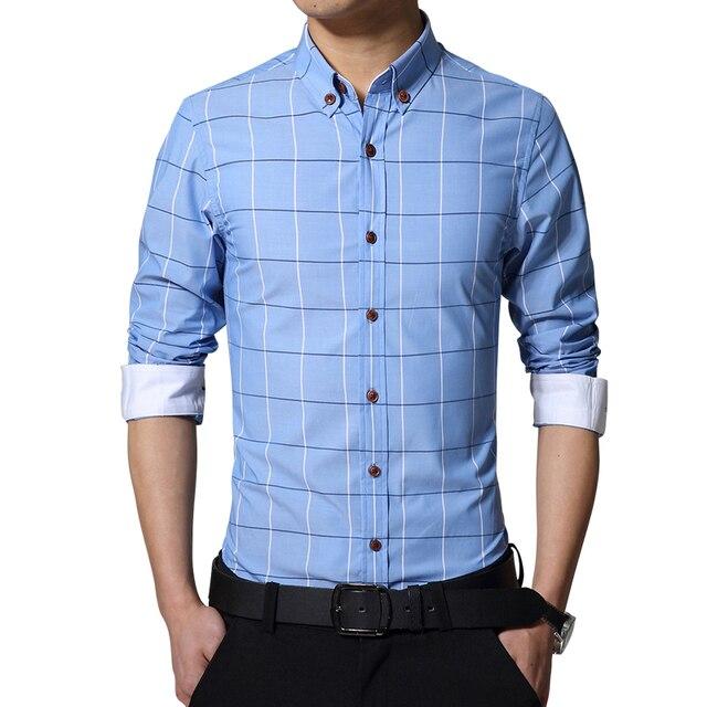 2017 hombres del verano camisa de la manera camisa a cuadros de manga larga ropa Delgada envío gratuito