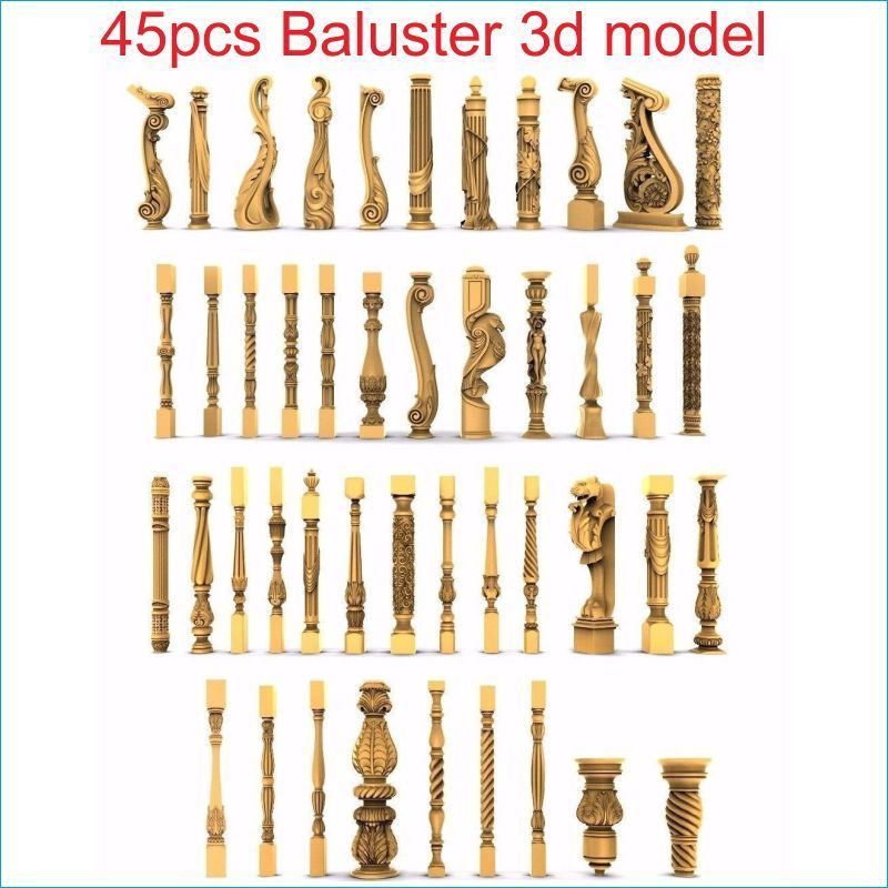 45pcs/set Baluster 3d Model STL Relief For Cnc STL Format Staircase Column 3d Model For Cnc Stl Relief Artcam Vectric Aspire