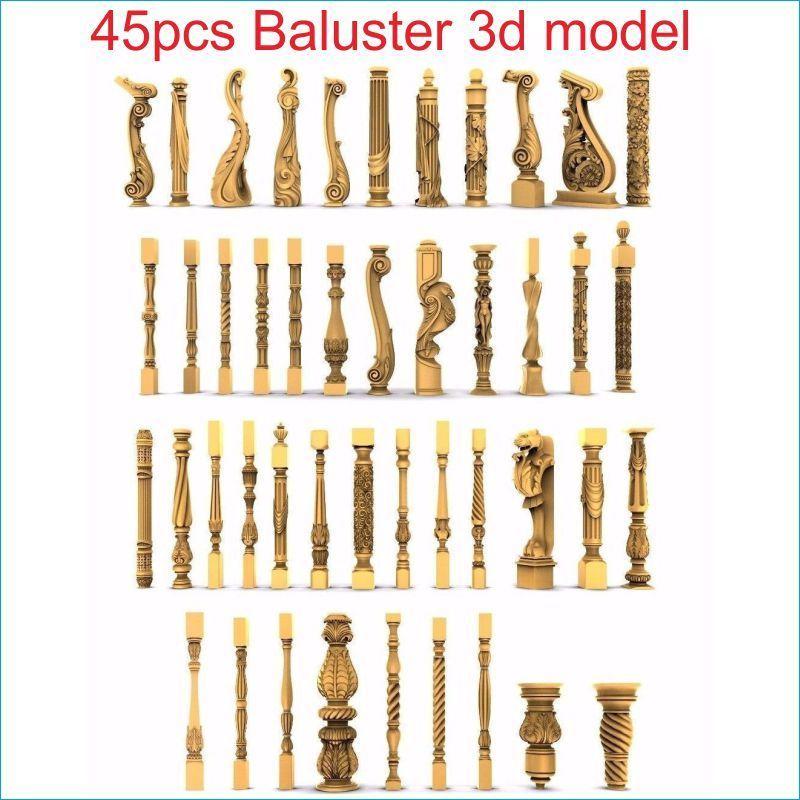 45pcs/set Baluster 3d Model STL Relief For Cnc STL Format Staircase Column 3d Model For Cnc Stl Relief Artcam Vectric Aspire