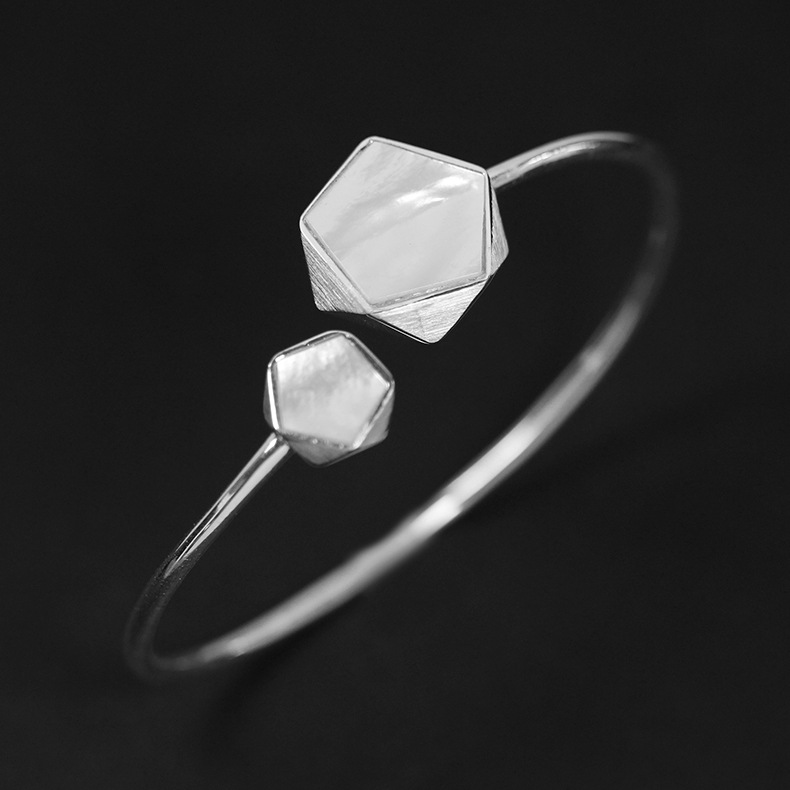 INATURE 925 Sterling Silver White Shell Geometric Open Bangles for Women Fashion Jewelry