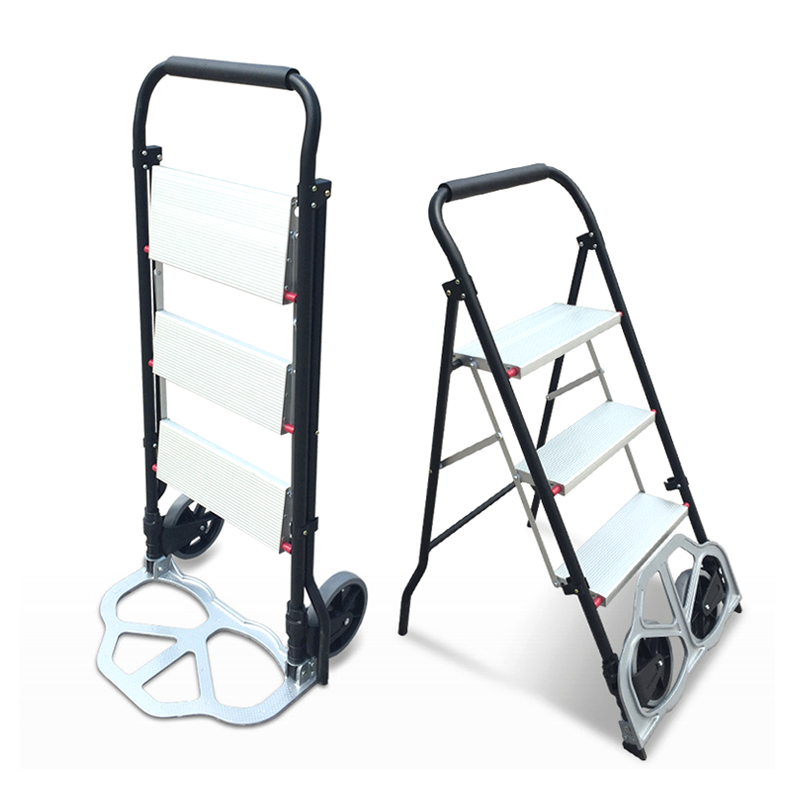 все цены на Dual-use cart&ladder Folding cargo trolley Household Aluminum alloy ladder Load for 150KG sturdy steel bracket Rubber wheels