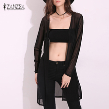 ZANZEA Fashion 2019 Womens See Through Cardigans Long Sleeve Shirts Thin Outwear Black White Simple Tops Plus Size S-5XL