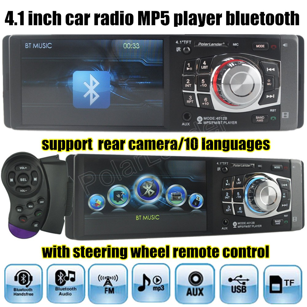 4.1 inch HD car radio MP5 MP4 player bluetooth video Support rear view camera 1 din size steering wheel remote control