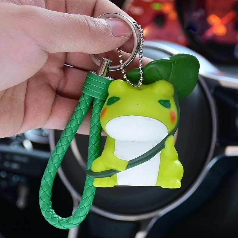 Lindo llavero de rana verde de dibujos animados hombres y mujeres colgante animal forma de silicona llavero mochila con cadena accesorios vacaciones regalo 2019