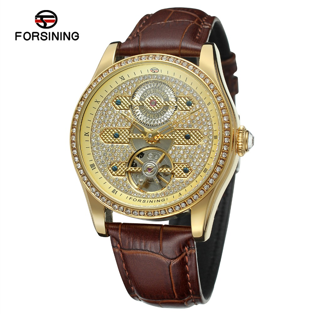 FORSINING Men s Supper Quality Automatic Self wind Genuine Leather Antique Analogue Military Wrist Watch with