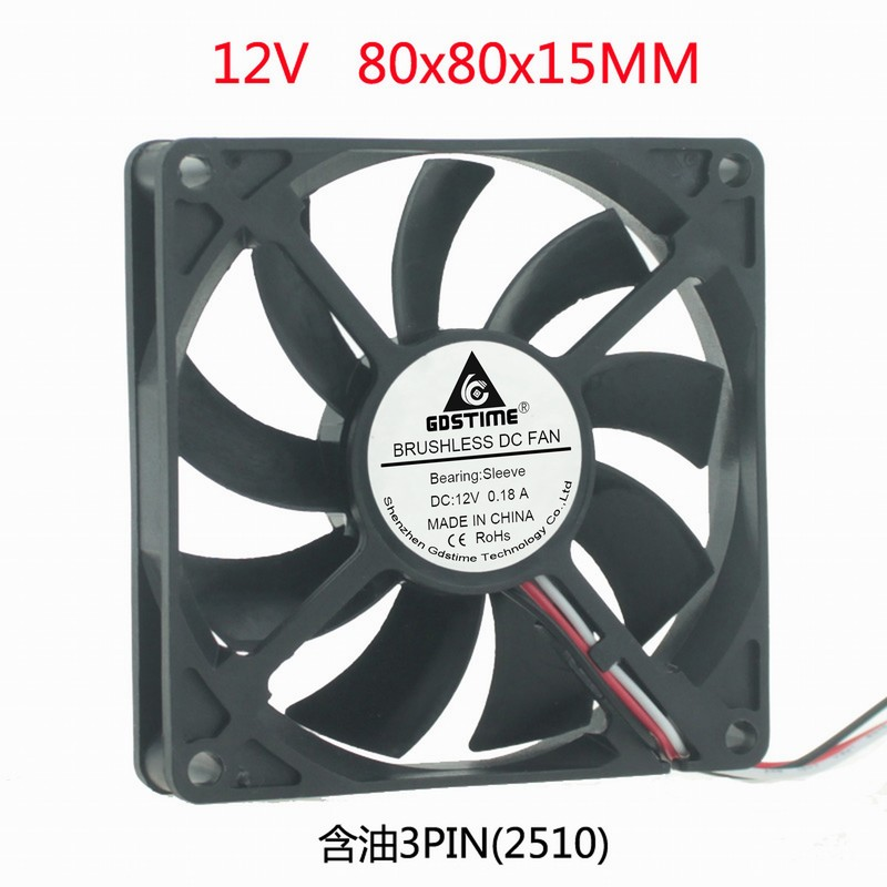 DC 12V 3PIN speed measurement 8cm 8cm 8cm 80mm <font><b>80x80x15</b></font> cooling <font><b>fan</b></font> image