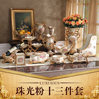 The European Home Furnishing high grade decorative resin crafts fruit plate paper towel box set luxury decoration vase